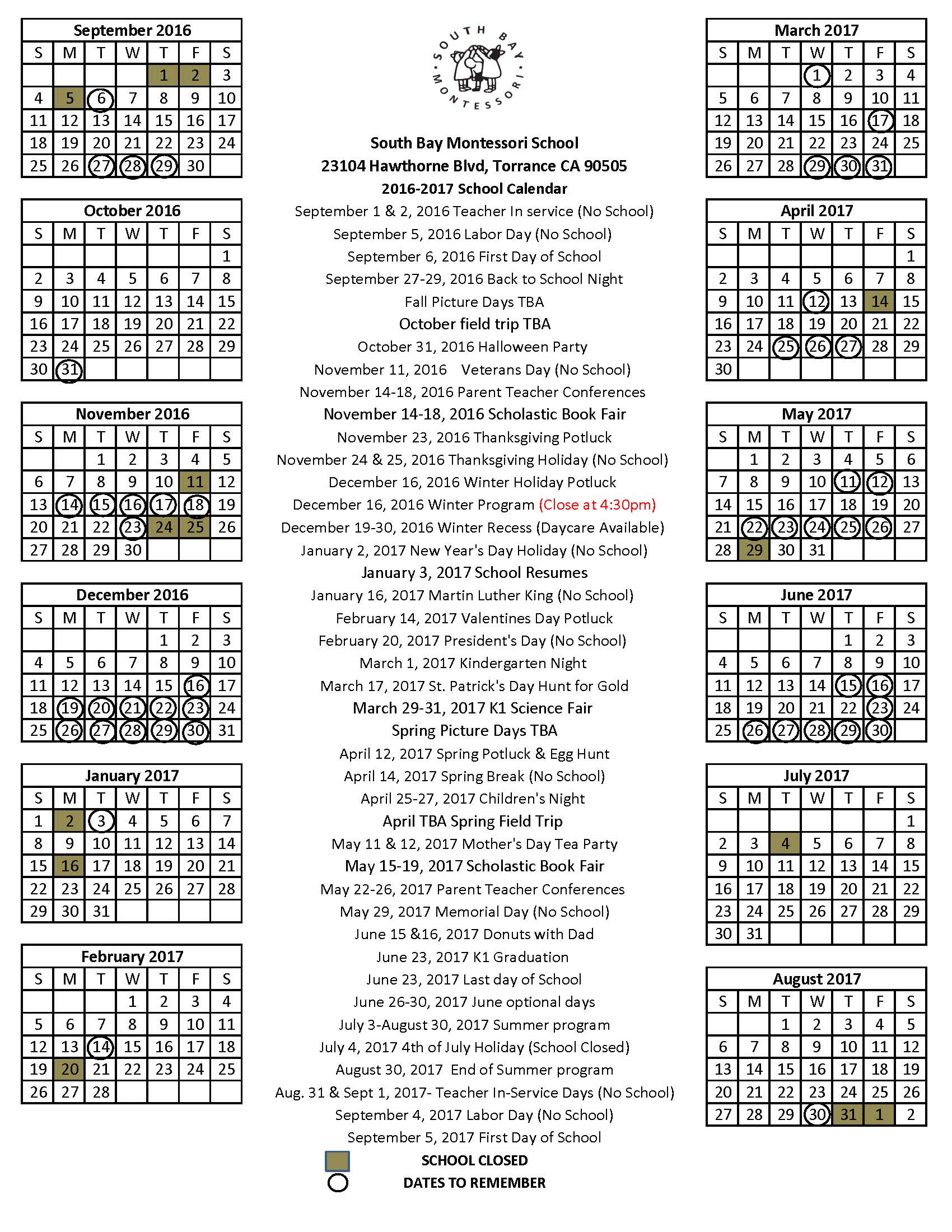 2015-2016 School Calendar South Bay