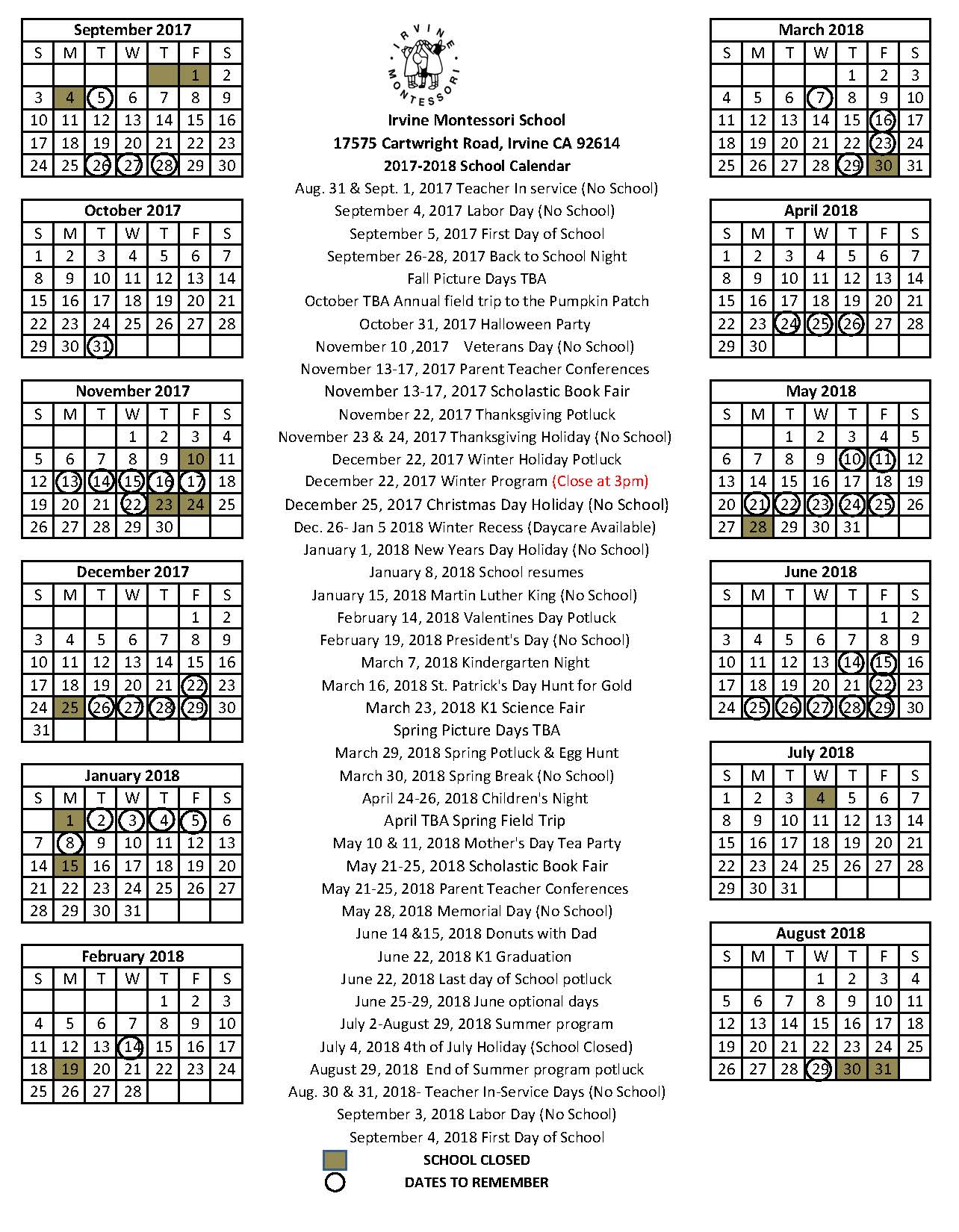 2015-2016 School Calendar South Bay