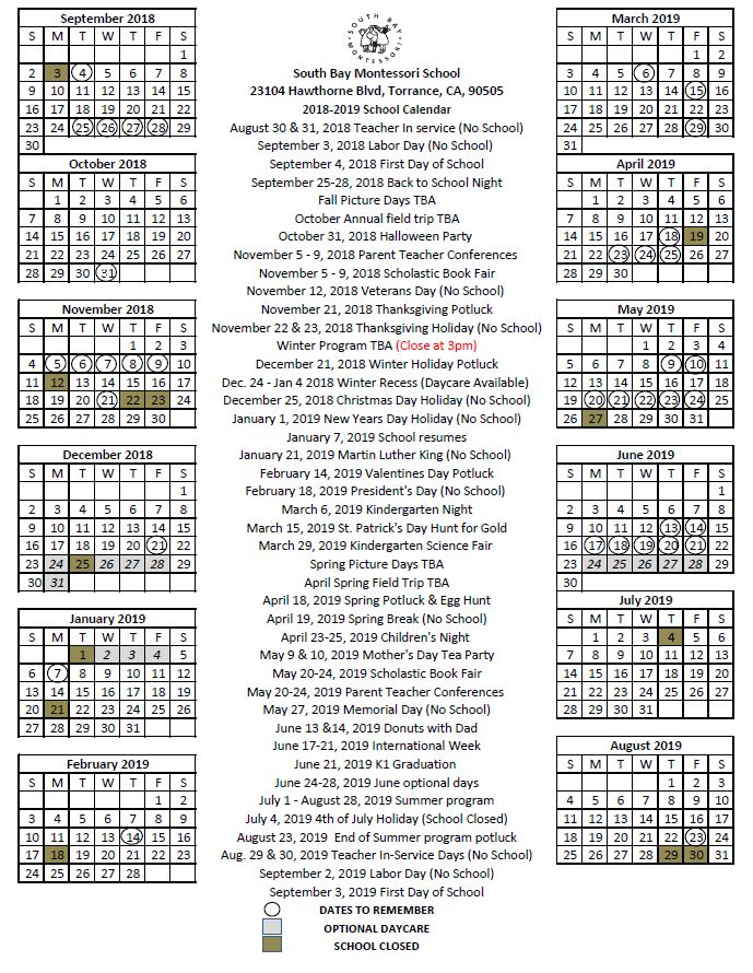 2018-2019 School Calendar South Bay